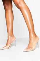 boohoo Clear Pointed Heel Mules
