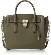 Michael Kors Hamilton Large Olive Green Pebbled Leather Satchel Bag