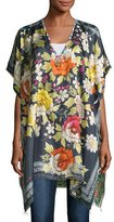 Johnny Was Rosalia Floral-Print Twill Poncho, Multi, Plus Size