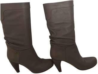 Alexander McQueen Grey Leather Boots