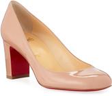 Christian Louboutin Cadrilla Patent Block-Heel Red Sole Pump