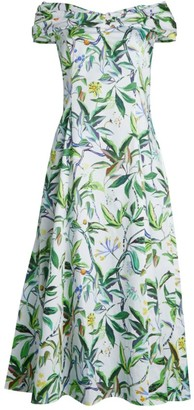 Jason Wu Collection Printed Poplin Off-The-Shoulder Day Dress