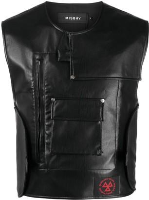 Misbhv Faux-Leather Sleeveless Jacket