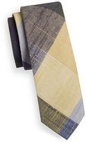 Haight And Ashbury Slim Madras Plaid Linen-Blend Tie