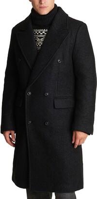 Karl Lagerfeld Paris Wool Blend Double Breasted Topcoat