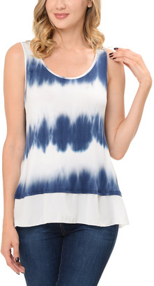 SSOULM Women's Tank Tops TIEDYENAVY - Navy Tie Dye Layered Tank - Women & Plus