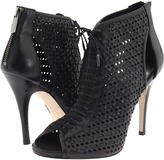 DKNY - Anna Peep Toe Bootie (Black Perf Woven Leather) - Footwear