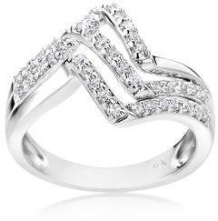 Summerrose Jewelry Summer Rose 14k White Gold 1/2ct TDW Triple Zig-Zag Diamond Ring