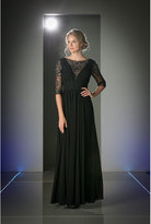 Unique Vintage Black Lace Three Quarter Sleeve Long Chiffon Dress