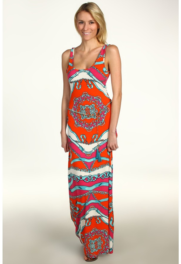 Hale Bob Be Iconic Sleeveless Maxi w/ Chain Belt (Coral) - Apparel