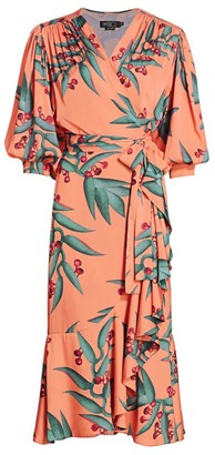 PatBO Printed Midi Wrap Dress