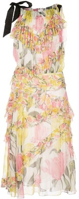 Jason Wu Collection Floral Print Tiered Dress