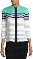 Ming Wang Stripe-Print Zip-Front Knit Jacket, Multi