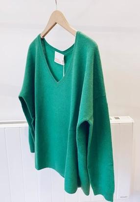Alresford Linen Cashmere V Neck Jumper - S / Bubblegum