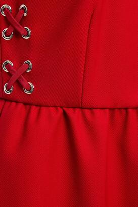 RED Valentino Lace-up Gathered Twill Mini Dress
