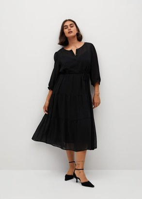 MANGO Ruffle plumeti dress