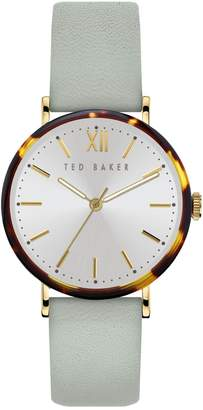 Ted Baker Phylipa Stainless Steel Leather-Strap Watch