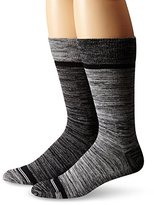 Nautica Men's 2 Pack Classics Dress Casual Heathered Feed Stripe Crew Socks