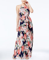 B. Darlin Juniors' Floral-Print Maxi Halter Dress