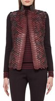 Akris Python-Embellished Leather Jacket, Aubergine