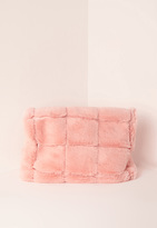 Missguided Pink Faux Fur Roll Top Clutch Bag