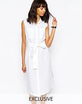 Monki Exclusive Tie Front Shirt Dress
