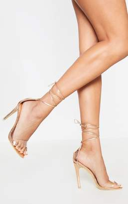 PrettyLittleThing Rose Gold Clear Strap Ankle Tie Heels