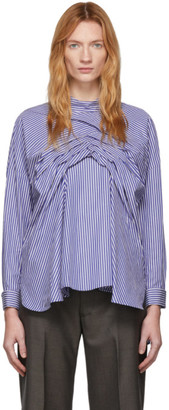 Enfold Blue Tuck Twist Blouse