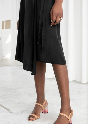 And other stories Satin Tie Midi Wrap Skirt