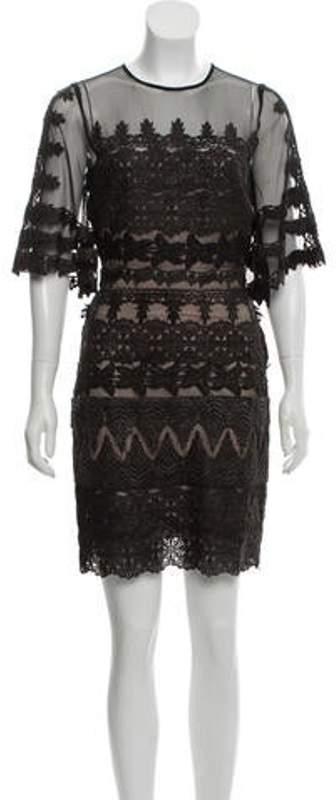 Nicole Miller Lace-Trimmed Mini Dress Black Lace-Trimmed Mini Dress