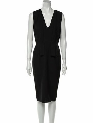 Narciso Rodriguez V-Neck Midi Length Dress Black