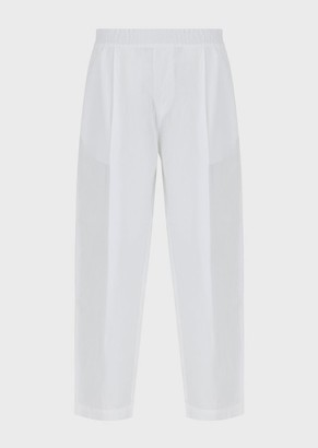 Emporio Armani Linen Trousers With Elasticated Waist