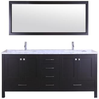 "Eviva Aberdeen 78"" Espresso Transitional Double Sink Bathroom Vanity,"