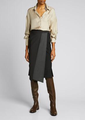Brunello Cucinelli Silk Button-Down Shirt w/ Monili Collar Inset