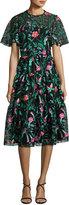 Kate Spade Short-Sleeve Jardin Floral Lace Dress, Black