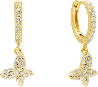 Adina's Jewels Pave Butterfly Huggie Hoop Earrings
