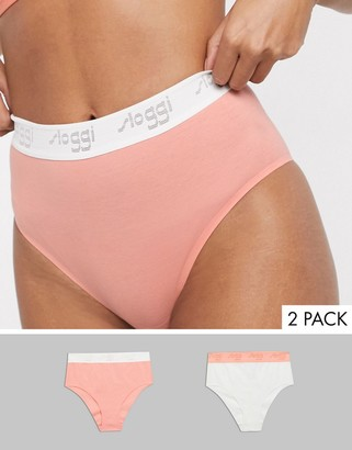 Sloggi The '79 2 pack cotton high waist briefs in white and coral