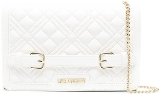 Love Moschino Quilted Buckle Detail Clutch Bag