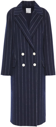 Sandro Double-breasted Pinstriped Wool And Cotton-blend Felt Coat