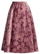 Erdem Teresa gathered-waist velvet-devoré midi skirt