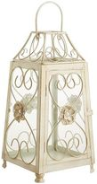 Pier 1 Imports Flower Pearl Scroll Lantern - Antique White Small