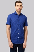 Moss Bros Slim Fit Blue Linen Short Sleeve Printed Casual Shirt