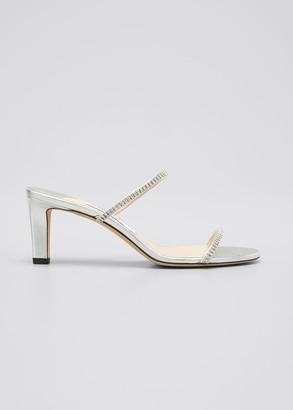 Jimmy Choo 65mm Embellished Metallic Slide Sandals
