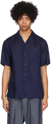 Blue Blue Japan Indigo Linen Open Spread Collar Shirt