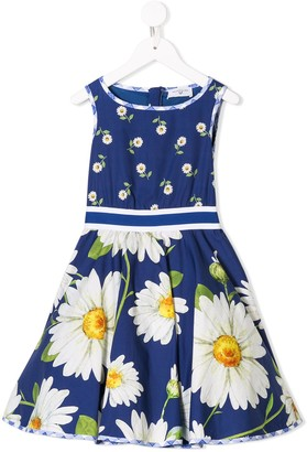 MonnaLisa Sleeveless Floral Flared Dress