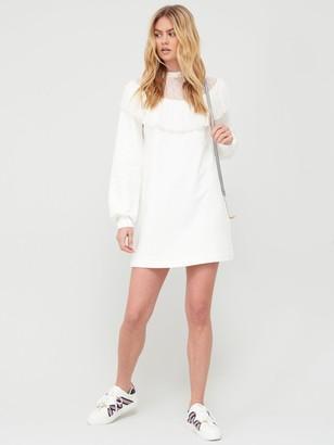 River Island Lace Insert Frill Jersey Sweater Dress - Cream
