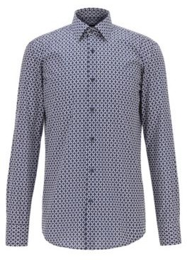 BOSS Slim-fit shirt in printed Italian cotton poplin
