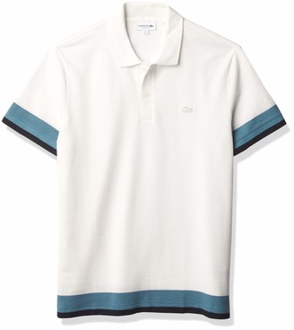 Lacoste Men's Short Sleeve Ribbed Semi-Fancy Regular Fit Pique Polo Shirt