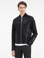Calvin Klein Platinum Waxed Leather Bomber Jacket