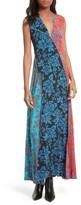 Diane von Furstenberg Women's Paneled Print Silk Maxi Dress